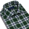 Contemporary Fit, Cut-away Collar, 2 Button Cuff Shirt in a Green Check Brushed Cotton