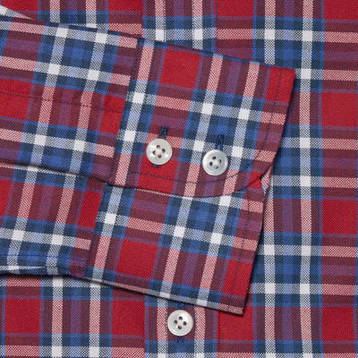 Contemporary Fit, Cut-away Collar, 2 Button Cuff Shirt in a Red & White Check Oxford Cotton