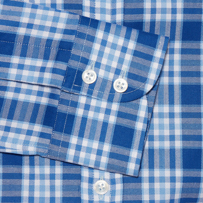 Contemporary Fit, Cut-away Collar, 2 Button Cuff Shirt in a Navy, Blue & White Large Check Oxford Cotton
