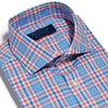 Contemporary Fit, Cut-away Collar, 2 Button Cuff Shirt in a Pink, Blue & White Large Check Oxford Cotton