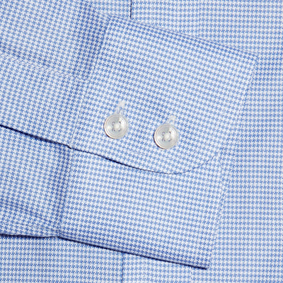 Blue Houndstooth Cotton Contemporary Fit, Cut-away Collar, 2 Button Cuff Shirt