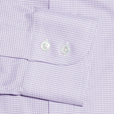 Lilac Houndstooth Cotton Contemporary Fit, Cut-away Collar, 2 Button Cuff Shirt