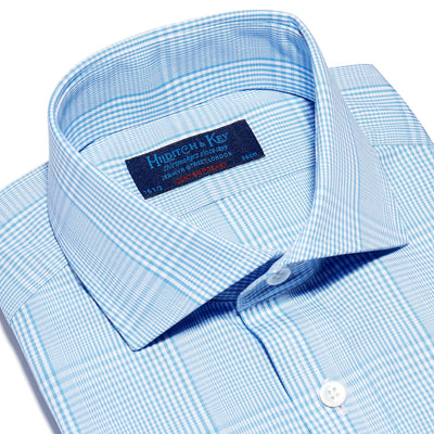 Blue & White Graduated Check Poplin Cotton Contemporary Fit, Cut-away Collar, 2 Button Cuff Shirt