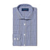 Navy & White Graduated Check Poplin Cotton Contemporary Fit, Cut-away Collar, 2 Button Cuff Shirt