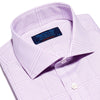 Lilac & White Graduated Check Poplin Cotton Contemporary Fit, Cut-away Collar, 2 Button Cuff Shirt
