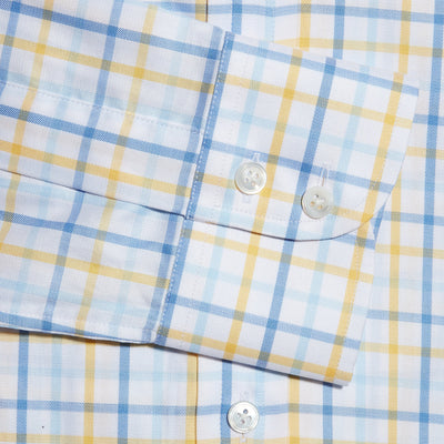 Contemporary Fit, Cut-away Collar, 2 Button Cuff Shirt in a Yellow, Blue & White Overcheck Twill Cotton