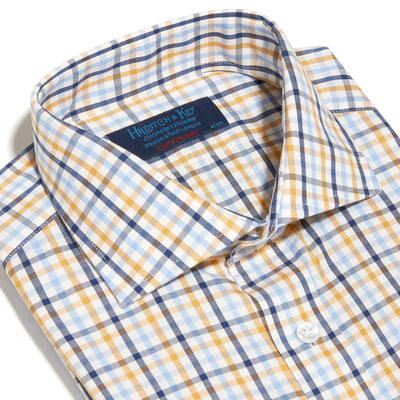 Contemporary Fit, Cut-away Collar, 2 Button Cuff Shirt in a Cream, Navy, Yellow & Blue Check Brushed Cotton