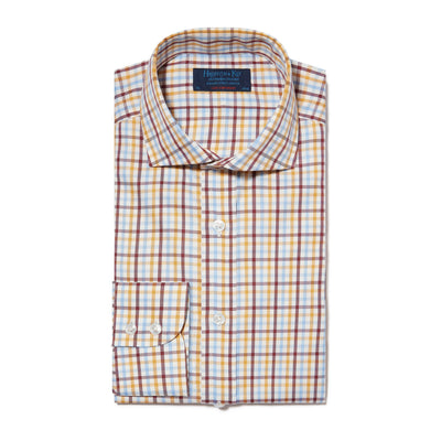 Contemporary Fit, Cut-away Collar, 2 Button Cuff Shirt in a Cream, Burgundy, Yellow & Blue Check Brushed Cotton