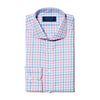 Pink, Blue & White Large Check Twill Cotton Contemporary Fit, Cut-away Collar, 2 Button Cuff Shirt