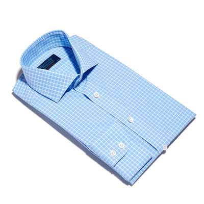 Blue & White Check Poplin Cotton Contemporary Fit, Cut-away Collar, 2 Button Cuff Shirt