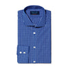 Navy & White Check Poplin Cotton Contemporary Fit, Cut-away Collar, 2 Button Cuff Shirt