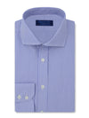 Contemporary Fit, Cut-away Collar, 2 Button Cuff Shirt in a Blue & White Fine Bengal Poplin Cotton