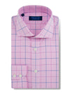 Contemporary Fit, Cut-away Collar, 2 Button Cuff Shirt in a Pink, Navy & White Check Poplin Cotton