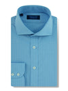 Contemporary Fit, Cut-away Collar, 2 Button Cuff Shirt in a Blue & White Check Poplin Cotton