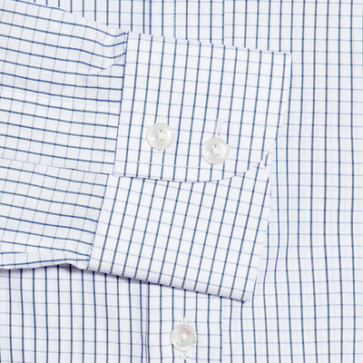 Contemporary Fit, Cut-away Collar, 2 Button Cuff Shirt in a Navy & White Large Graph Check Poplin Cotton