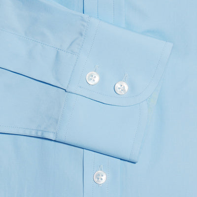 Contemporary Fit, Cut-away Collar, 2 Button Cuff Shirt in a Plain Ice Blue Poplin Cotton