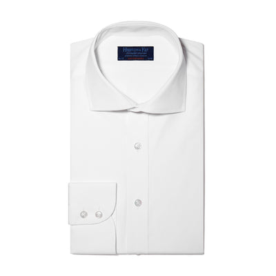 Contemporary Fit, Cut-away Collar, 2 Button Cuff Shirt in a Plain White Poplin Cotton