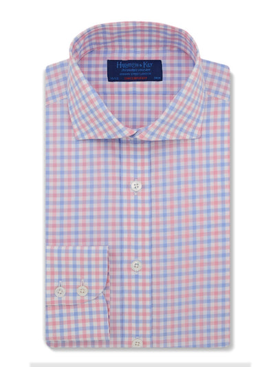 Contemporary Fit, Cut-away Collar, 2 Button Cuff Shirt in a Pink, Blue & White Check Zephyr Cotton