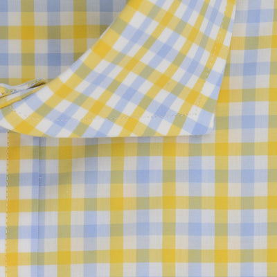 Contemporary Fit, Cut-away Collar, 2 Button Cuff Shirt in a Yellow, Blue & White Check Zephyr Cotton