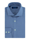 Contemporary Fit, Cut-away Collar, 2 Button Cuff Shirt in a Plain Navy & White Houndstooth Cotton