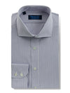 Contemporary Fit, Cut-away Collar, 2 Button Cuff Shirt in a Purple & White Stripe Poplin Cotton