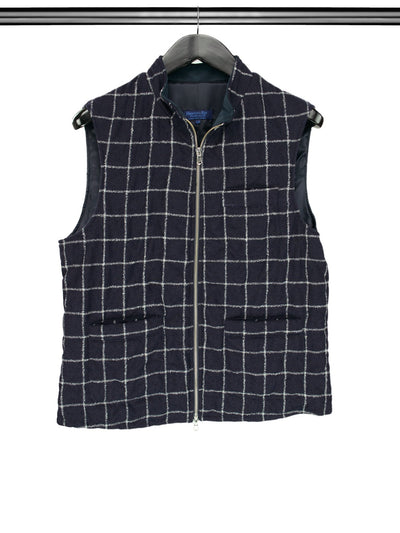 Navy & White Checked Quilted Woollen Gilet