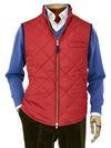 Red Quilted Gilet With Navy Knitted Back