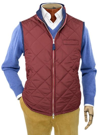 Wine Quilted Gilet With Navy Knitted Back