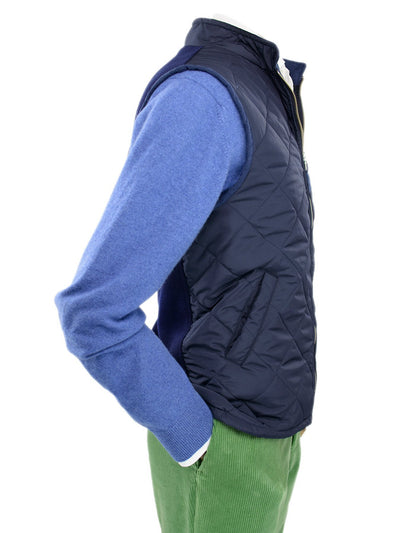 Navy Quilted Gilet With Navy Knitted Back