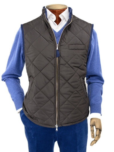 Dark Brown Quilted Gilet With Navy Knitted Back