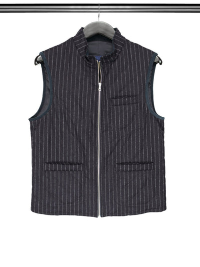Navy Striped Quilted Woollen Gilet