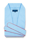 Classic Gown in a Sky Blue & White Double Satin Stripe Poplin Cotton with Red Piping