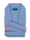Classic Gown in a Navy & White Gingham Check Poplin Cotton with Red Piping