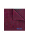Burgundy Silk Handkerchief with Blue & Amber Flowers