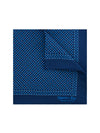 Navy Silk Handkerchief with Blue & Cream Leaves