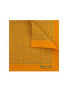 Orange Silk Handkerchief with Blue & Cream Leaves