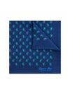 Navy Silk Handkerchief with Green & Blue Paisley
