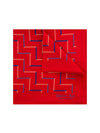 Red Silk Handkerchief with Blue & Cream Zig-Zags