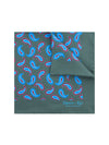 Grey Silk Handkerchief with Red & Blue Paisley