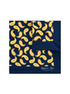 Navy Silk Handkerchief with Brown & Beige Paisley