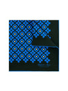 Black Silk Handkerchief with Blue & Cream Geometric Flowers