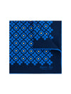 Navy Silk Handkerchief with Blue & Cream Geometric Flowers