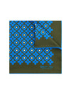 Brown Silk Handkerchief with Blue & Cream Geometric Flowers