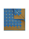 Light Brown Silk Handkerchief with Blue & Cream Geometric Flowers