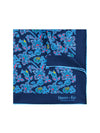 Navy Silk Handkerchief with Blue, Red & Green Leaves