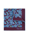 Burgundy Silk Handkerchief with Blue, Cream & Green Leaves