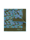 Brown Silk Handkerchief with Blue, Cerise & Lilac Leaves