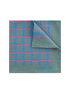 Grey Silk Handkerchief with Cerise & Blue Grid