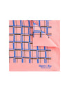 Pink Silk Handkerchief with Brown & Blue Grid