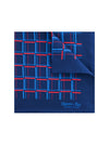 Navy Silk Handkerchief with Red & Blue Grid